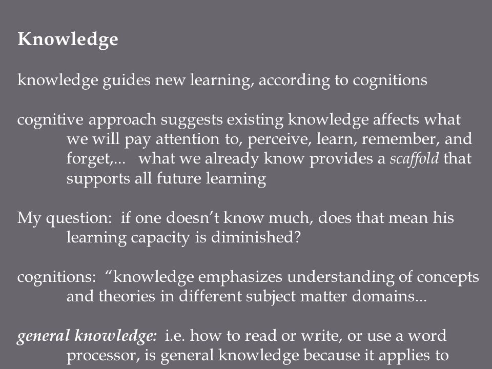 Metacognition, Regulation, and Individual Differences Metacognitive Skills: control processes, such as attention, maintenance rehearsal, elaboration, organization, that can be intentionally used to regulate cognition---knowledge about our own thinking process people's awareness of their own cognitive machinery and how that machinery works --- Meichenbaum metacognitive knowledge is used to regulate thinking and learning in three ways: planning: decide how much time to give a task, how to start, what resources to use in what order monitoring: how am I doing?, am I going to fast?, is this making sense.