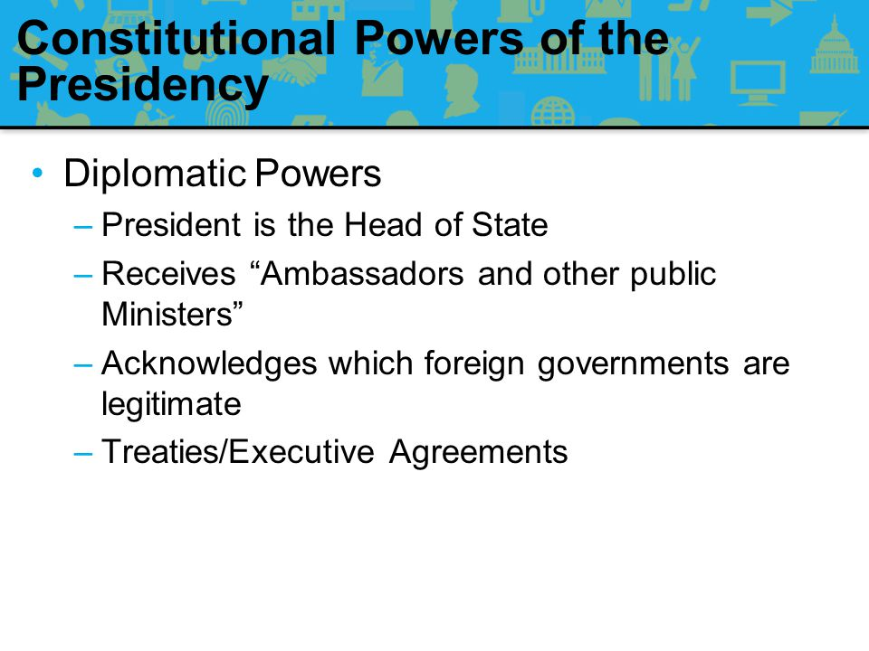 Constitutional Powers of the Presidency Judicial Powers –President can grant Reprieves and Pardons for Offences against the United States, except in Cases of Impeachment.