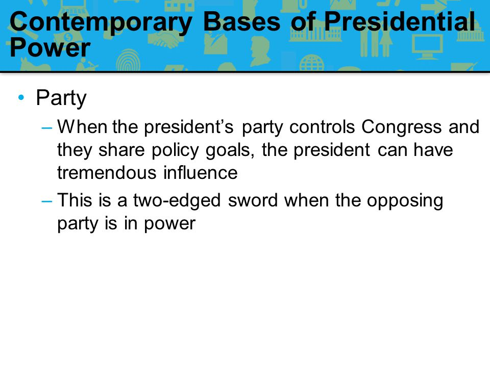 Contemporary Bases of Presidential Power Sources of presidential strength: –Party –Popular Mobilization –Administration