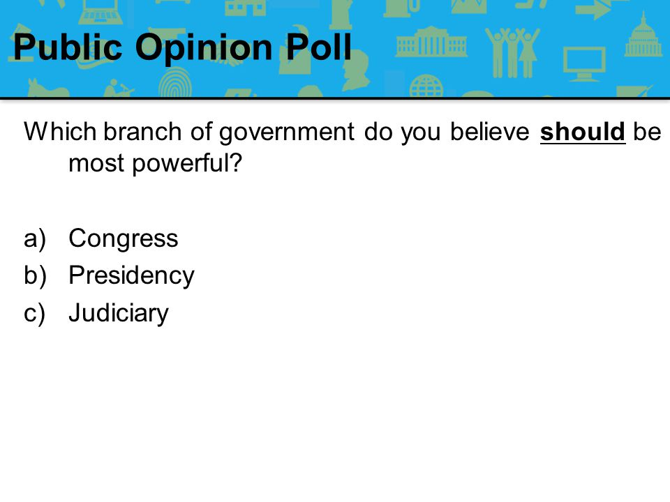 Public Opinion Poll Which branch of government do you believe is most powerful.