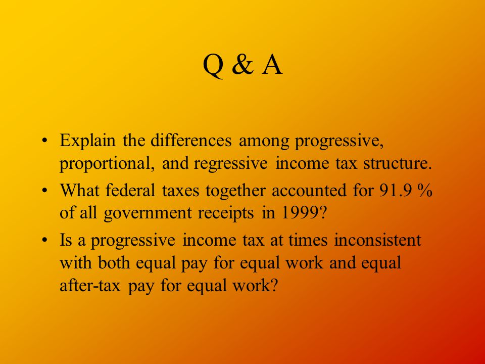 Q & A Explain the differences among progressive, proportional, and regressive income tax structure. What federal taxes together accounted for 91.9 % o