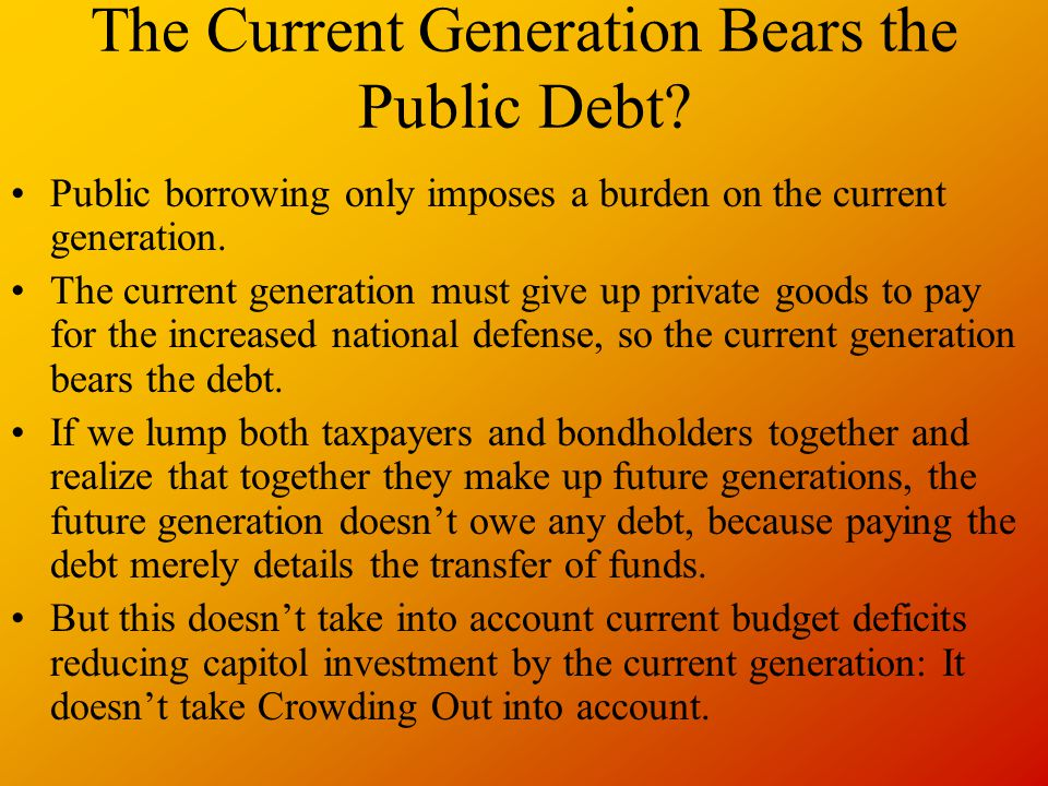 The Current Generation Bears the Public Debt.