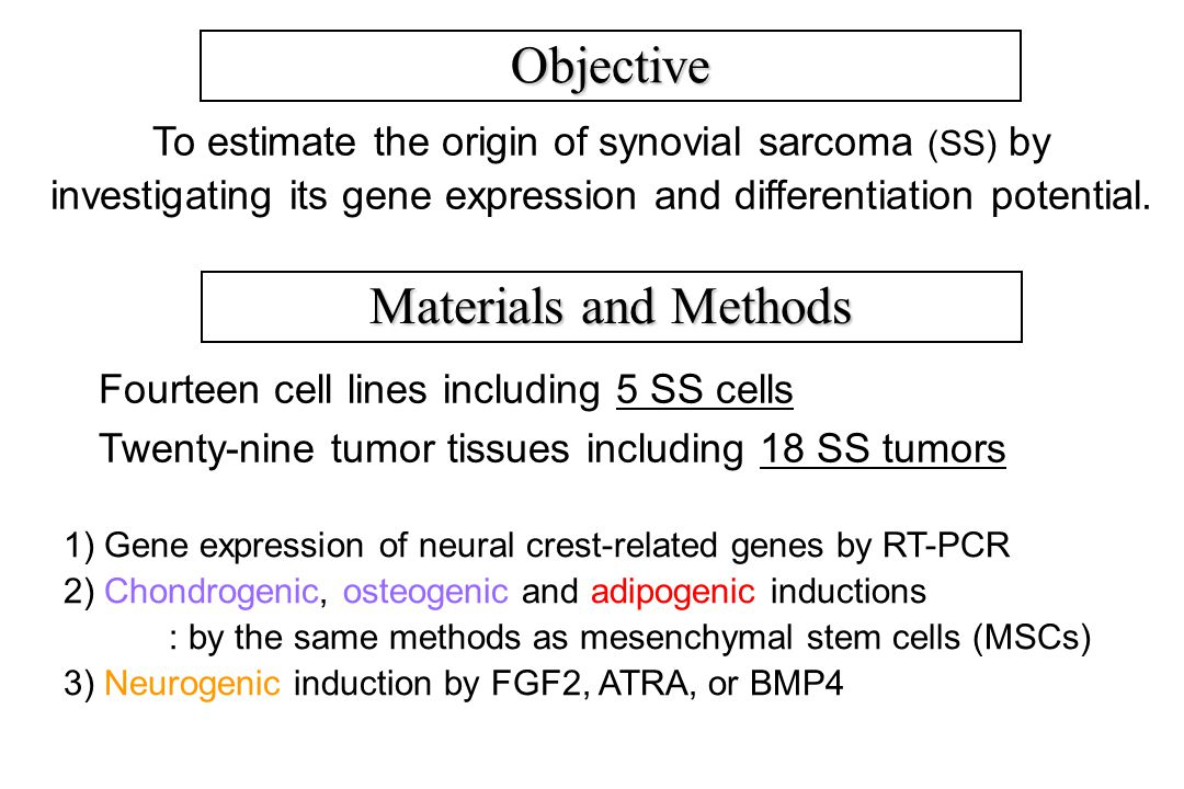 Objective To estimate the origin of synovial sarcoma (SS) by investigating its gene expression and differentiation potential.