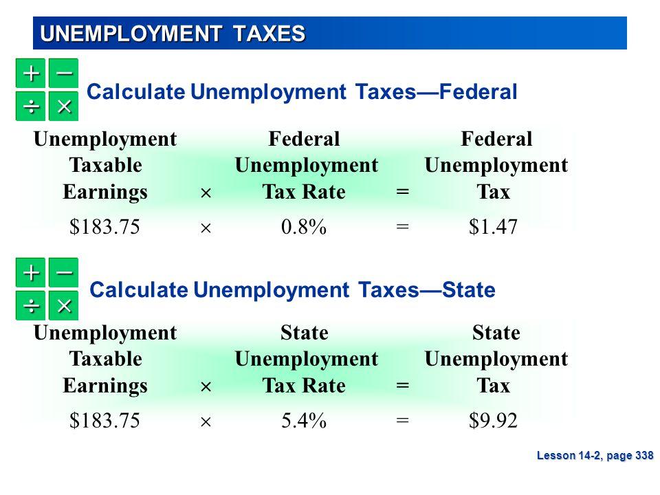 UNEMPLOYMENT TAXES UnemploymentFederal Federal Taxable Unemployment Unemployment Earnings  Tax Rate=Tax $183.75  0.8%=$1.47 Lesson 14-2, page 338 Un