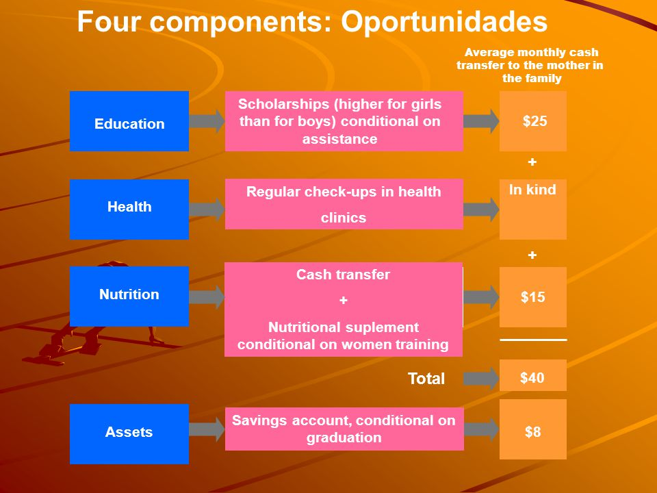 Four components: Oportunidades Education Scholarships (higher for girls than for boys) conditional on assistance $25 Average monthly cash transfer to