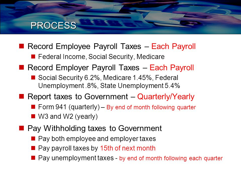 PROCESS Record Employee Payroll Taxes – Each Payroll Federal Income, Social Security, Medicare Record Employer Payroll Taxes – Each Payroll Social Security 6.2%, Medicare 1.45%, Federal Unemployment.8%, State Unemployment 5.4% Report taxes to Government – Quarterly/Yearly Form 941 (quarterly) – By end of month following quarter W3 and W2 (yearly) Pay Withholding taxes to Government Pay both employee and employer taxes Pay payroll taxes by 15th of next month Pay unemployment taxes - by end of month following each quarter
