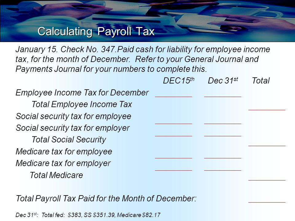 Calculating Payroll Tax What accounts are impacted and how.