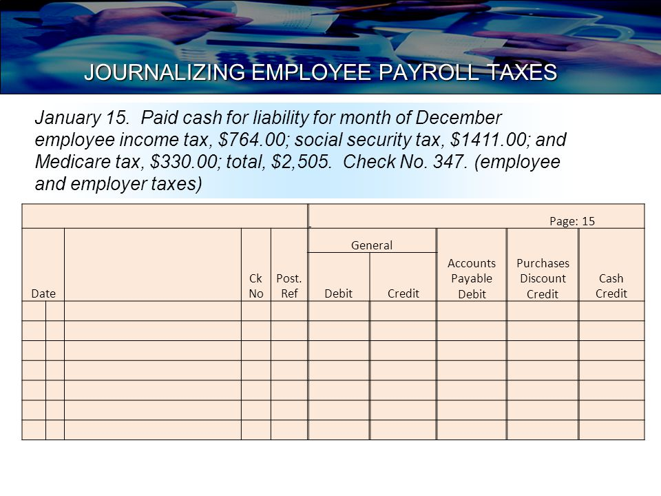 JOURNALIZING EMPLOYEE PAYROLL TAXES Page: 15 Date Ck No Post.