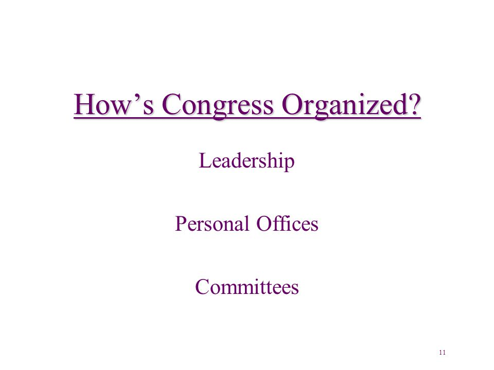 How's Congress Organized Leadership Personal Offices Committees 11