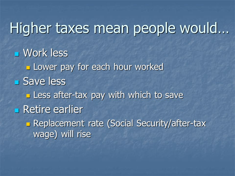 Effects of raising tax cap Individual earning $106,800 currently pays: Individual earning $106,800 currently pays: 28% federal income tax 28% federal income tax 2.9% Medicare payroll tax 2.9% Medicare payroll tax ~5% state income tax ~5% state income tax Total marginal rate: ~36% Total marginal rate: ~36% With higher Social Security cap: ~48% With higher Social Security cap: ~48% $107k isn't that rich $107k isn't that rich We haven't done a thing to fix Medicare/ Medicaid We haven't done a thing to fix Medicare/ Medicaid