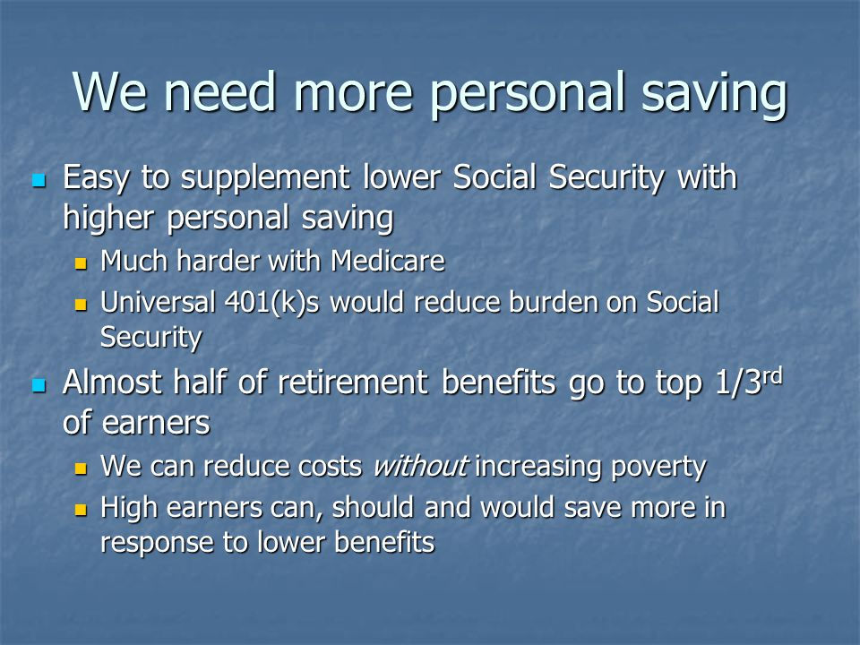 We need more personal saving Easy to supplement lower Social Security with higher personal saving Easy to supplement lower Social Security with higher personal saving Much harder with Medicare Much harder with Medicare Universal 401(k)s would reduce burden on Social Security Universal 401(k)s would reduce burden on Social Security Almost half of retirement benefits go to top 1/3 rd of earners Almost half of retirement benefits go to top 1/3 rd of earners We can reduce costs without increasing poverty We can reduce costs without increasing poverty High earners can, should and would save more in response to lower benefits High earners can, should and would save more in response to lower benefits