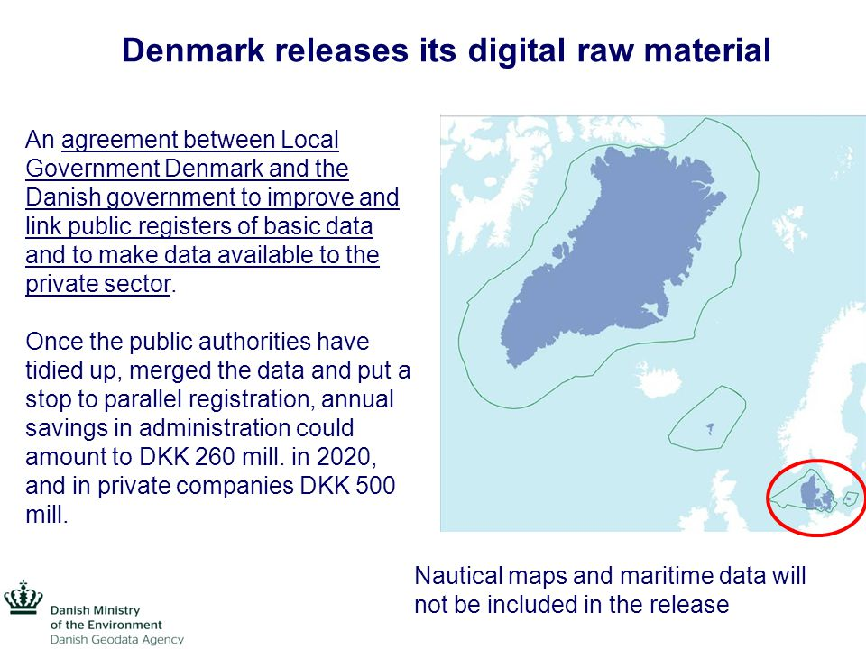 Denmark releases its digital raw material Basic data includes private addresses, companies business registration numbers, the cadastral numbers of real properties or maps and voting districts.