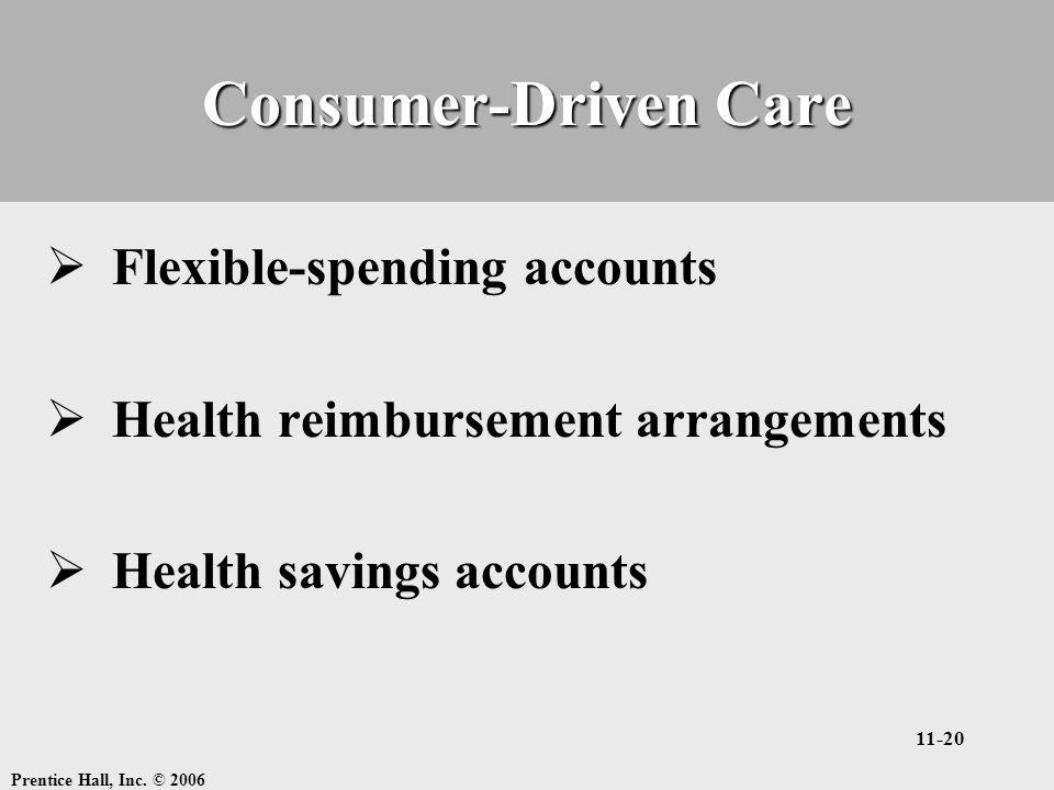 Prentice Hall, Inc. © 2006 11-20 Consumer-Driven Care  Flexible-spending accounts  Health reimbursement arrangements  Health savings accounts