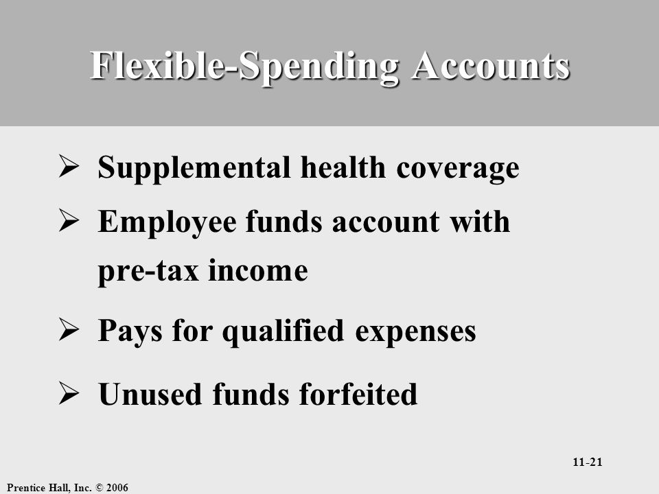 Prentice Hall, Inc. © 2006 11-21 Flexible-Spending Accounts  Supplemental health coverage  Employee funds account with pre-tax income  Pays for qua