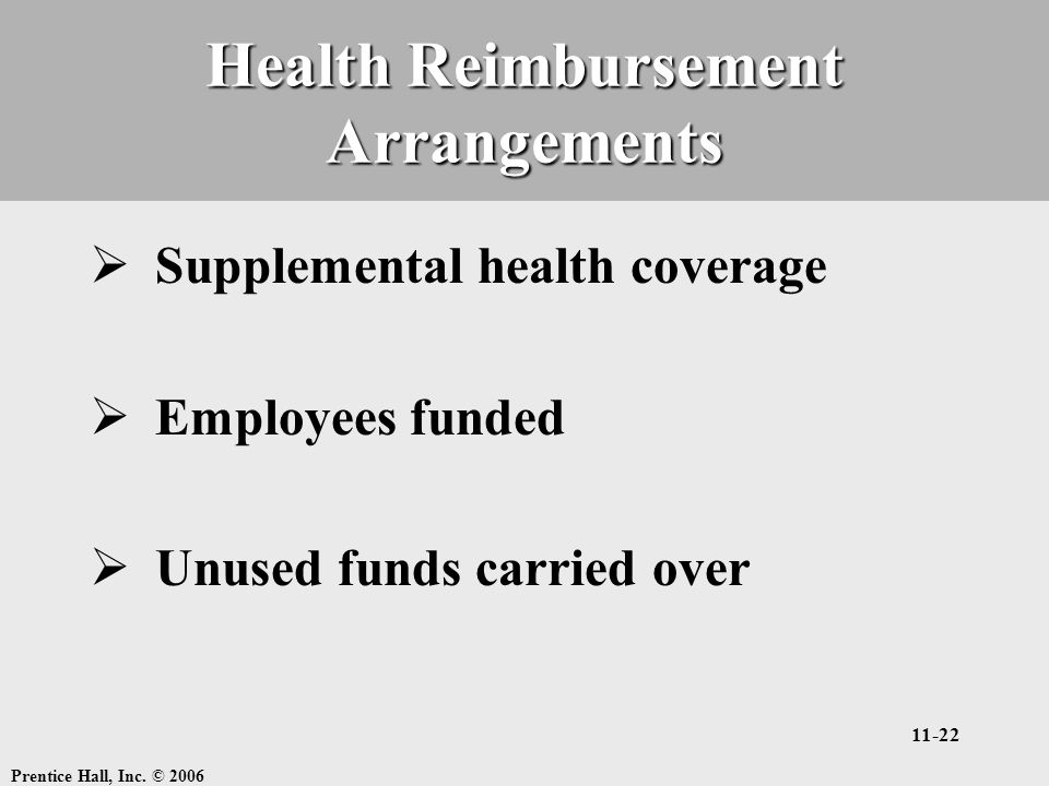 Prentice Hall, Inc. © 2006 11-22 Health Reimbursement Arrangements  Supplemental health coverage  Employees funded  Unused funds carried over