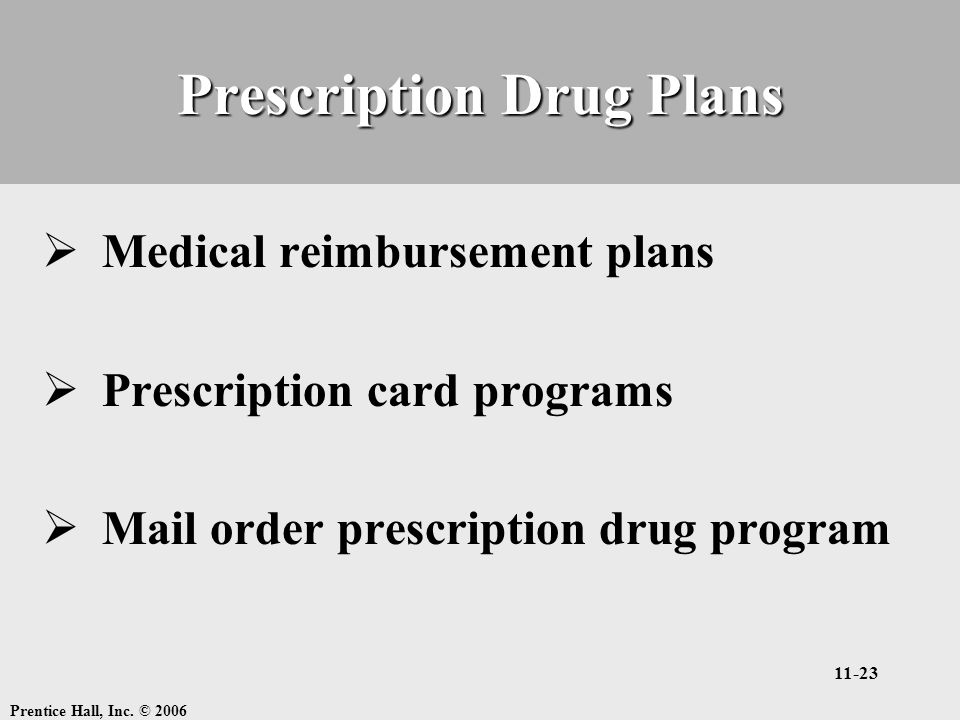 Prentice Hall, Inc. © 2006 11-23 Prescription Drug Plans  Medical reimbursement plans  Prescription card programs  Mail order prescription drug pro