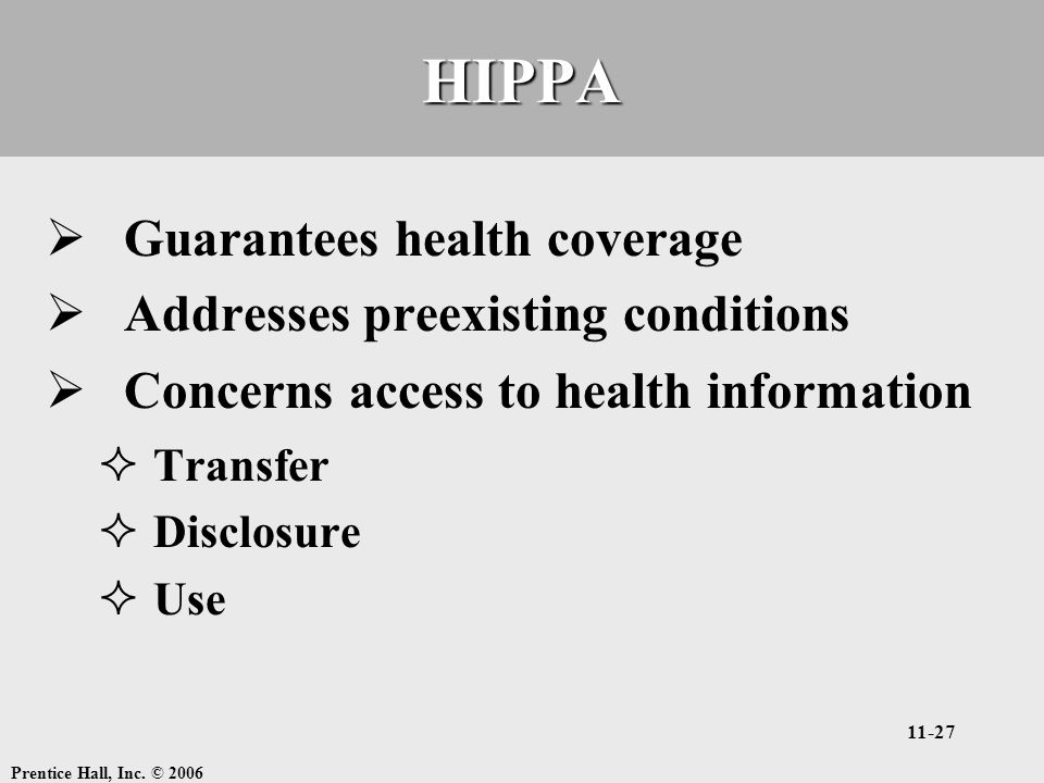 Prentice Hall, Inc. © 2006 11-27HIPPA  Guarantees health coverage  Addresses preexisting conditions  Concerns access to health information  Transf