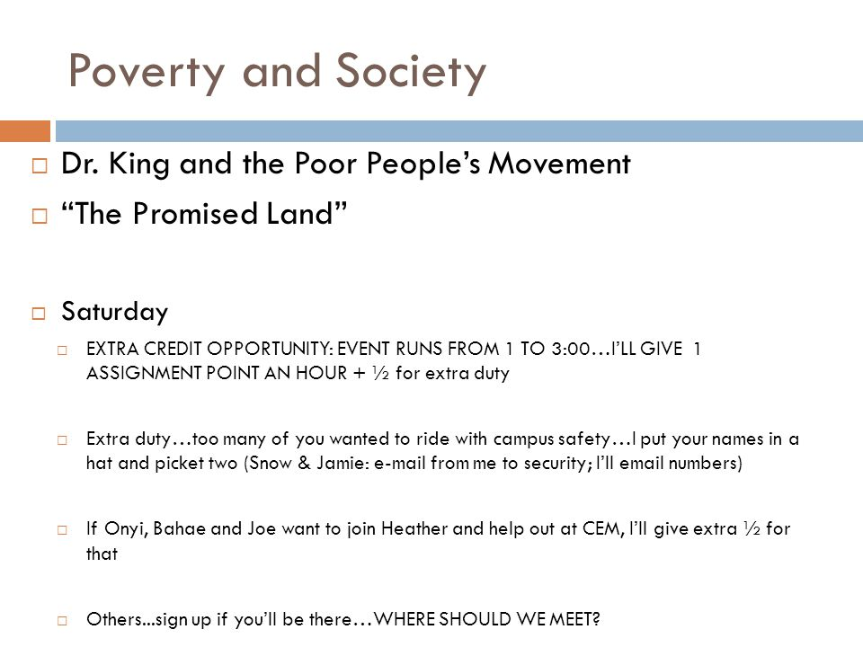 Poverty and Society  Dr.