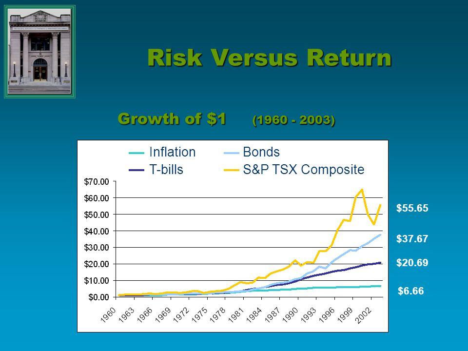 Growth of $1 (1960 - 2003) InflationBonds T-billsS&P TSX Composite $55.65 $37.67 $20.69 $6.66 Risk Versus Return