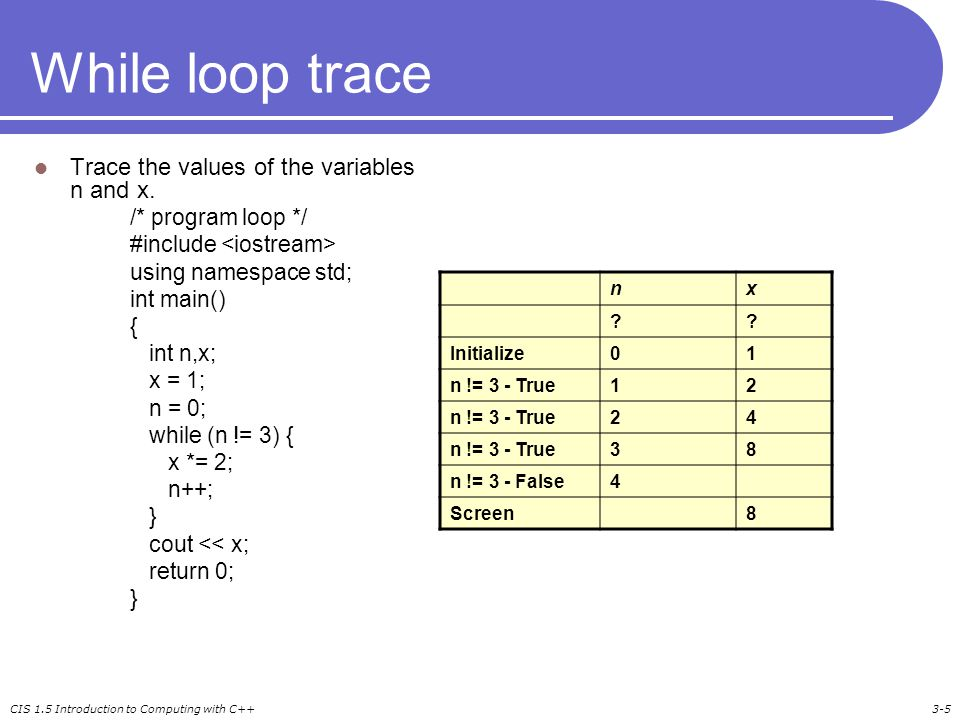 CIS 1.5 Introduction to Computing with C++3-5 While loop trace Trace the values of the variables n and x.