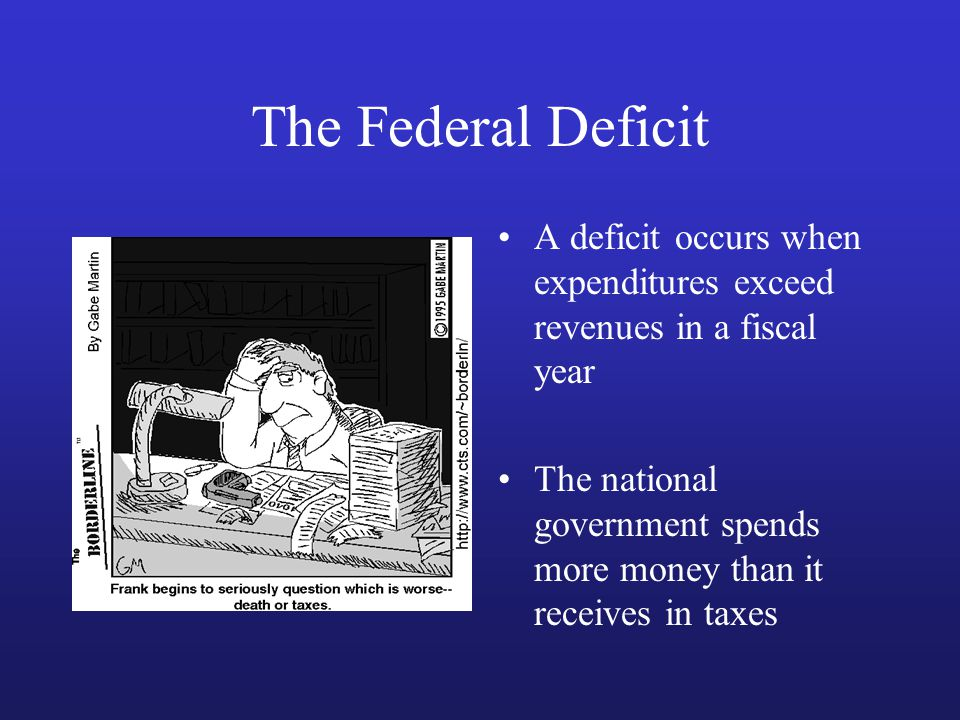 The Federal Deficit A deficit occurs when expenditures exceed revenues in a fiscal year The national government spends more money than it receives in