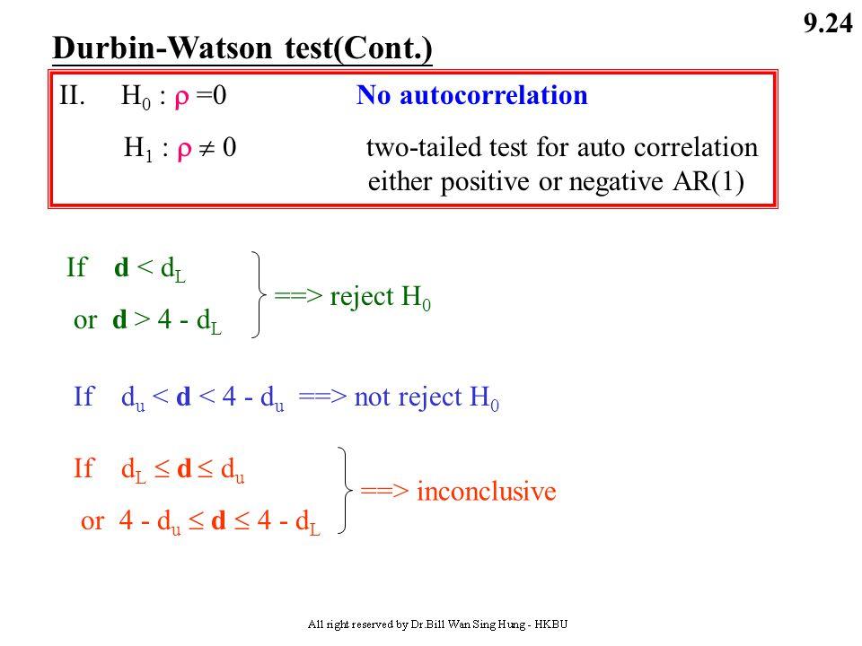 9.23 Durbin-Watson test(Cont.) II. H 0 :  ≥0 no negative autocorrelation H 1 :  < 0 yes, negative autocorrelation d we use (4-d) (when d is greater