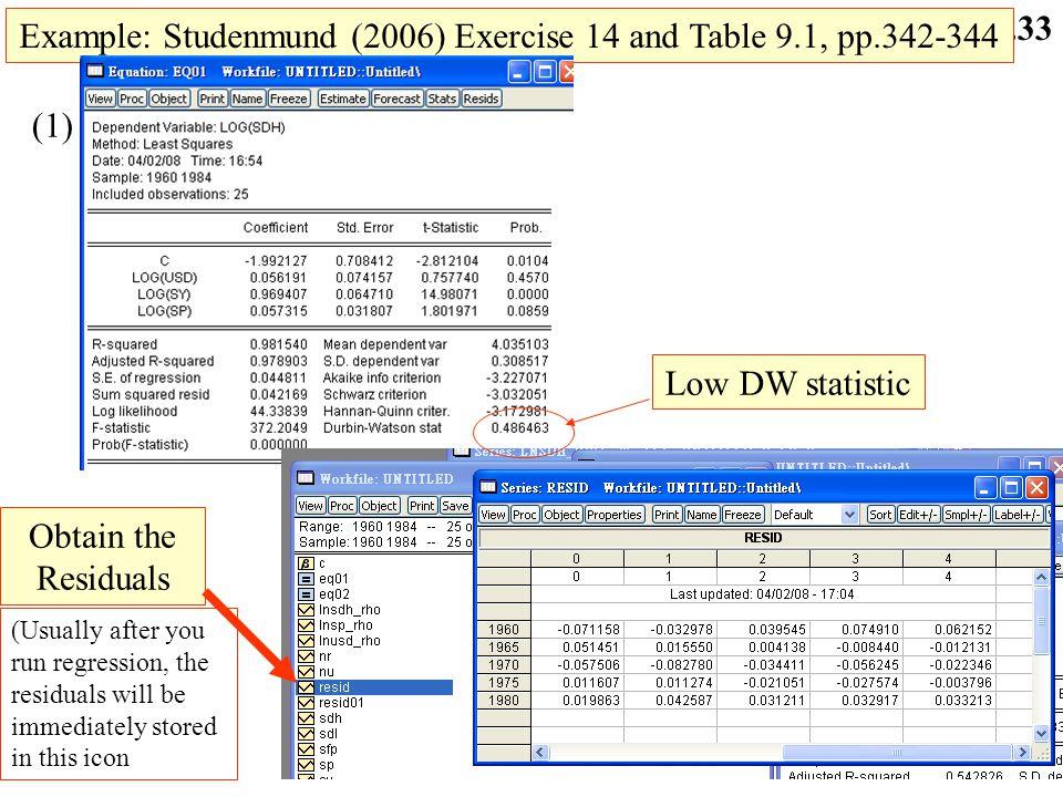 9.32 Cochrane-Orcutt Iterative procedure(Cont.) (8). Run OLS on Y t ** =  0 ** +  1 ** X t ** +  t ** Where is ^ ^ (Y t -  Y t-1 ) =  0 (1 -  )