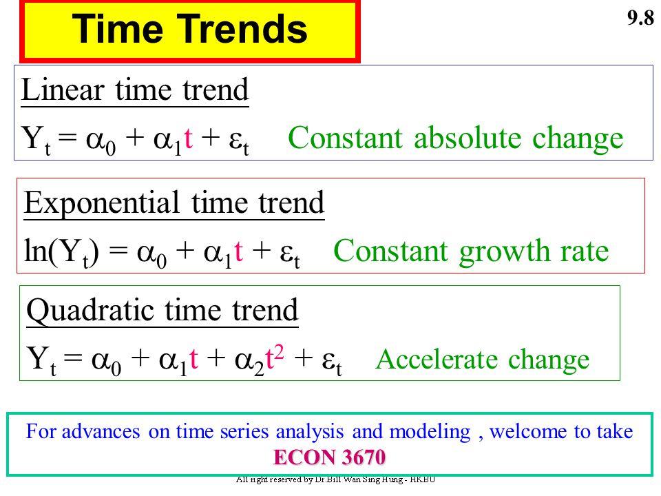 9.7  0  1  2 C =  0 +  0 Yd t +  1 Yd t-1 +  2 Yd t-2 +  t  0 +  1 +  2 Long-run propensity (LRP) = (  0 +  1 +  2 ) permanent Permanent