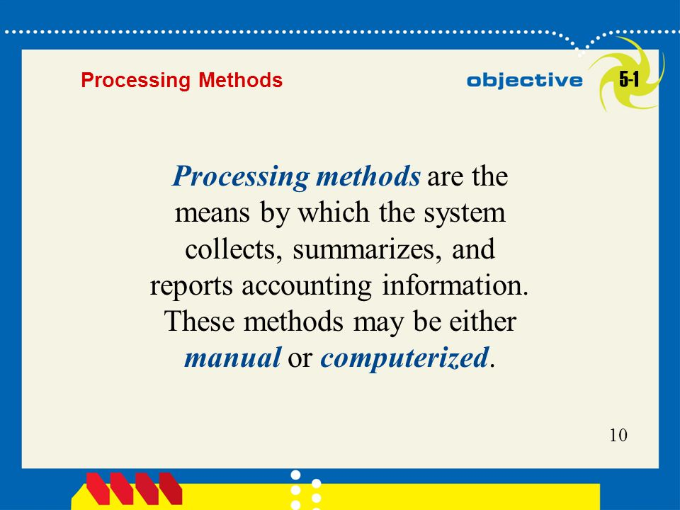 10 Processing methods are the means by which the system collects, summarizes, and reports accounting information. These methods may be either manual o