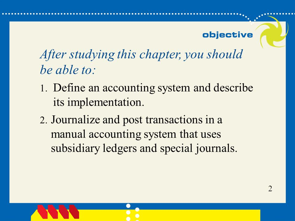 3 3.Describe and give examples of additional subsidiary ledgers and modified special journals.