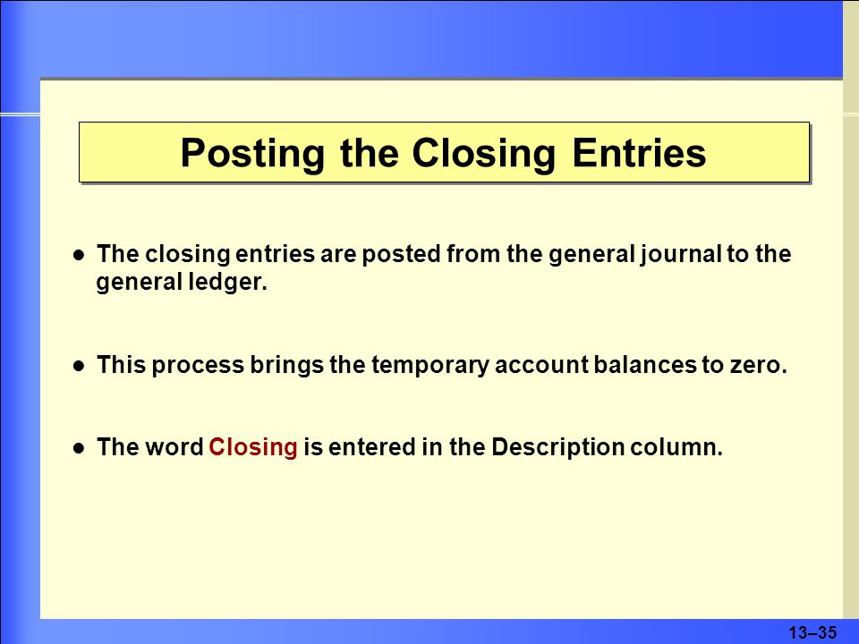 13–35 Posting the Closing Entries The closing entries are posted from the general journal to the general ledger.
