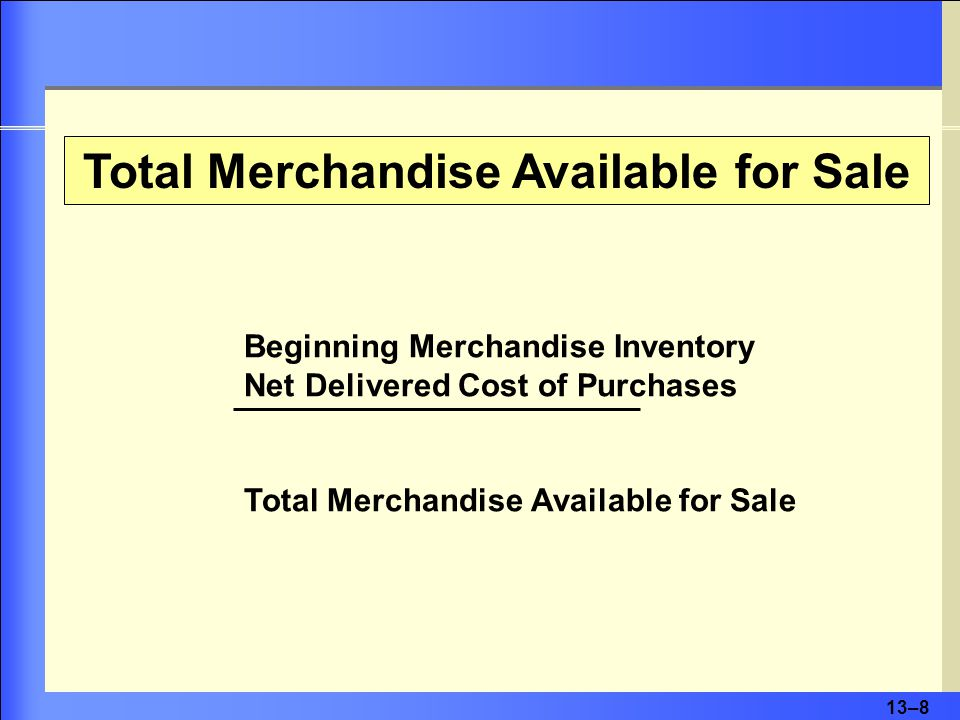 13–8 Beginning Merchandise Inventory Net Delivered Cost of Purchases Total Merchandise Available for Sale