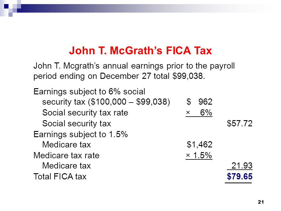 21 John T. Mcgrath's annual earnings prior to the payroll period ending on December 27 total $99,038. Earnings subject to 6% social security tax ($100