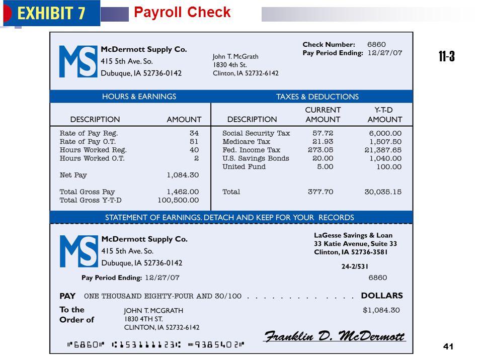 41 11-3 Payroll Check