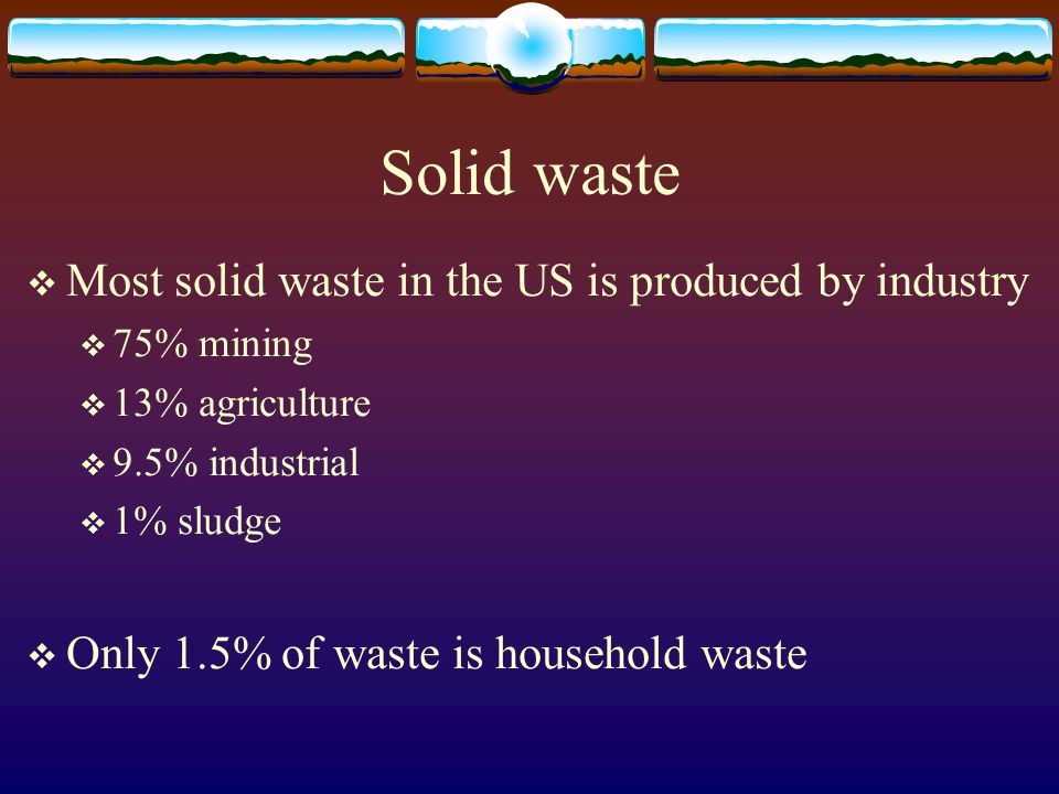 Solid waste  Most solid waste in the US is produced by industry  75% mining  13% agriculture  9.5% industrial  1% sludge  Only 1.5% of waste is household waste
