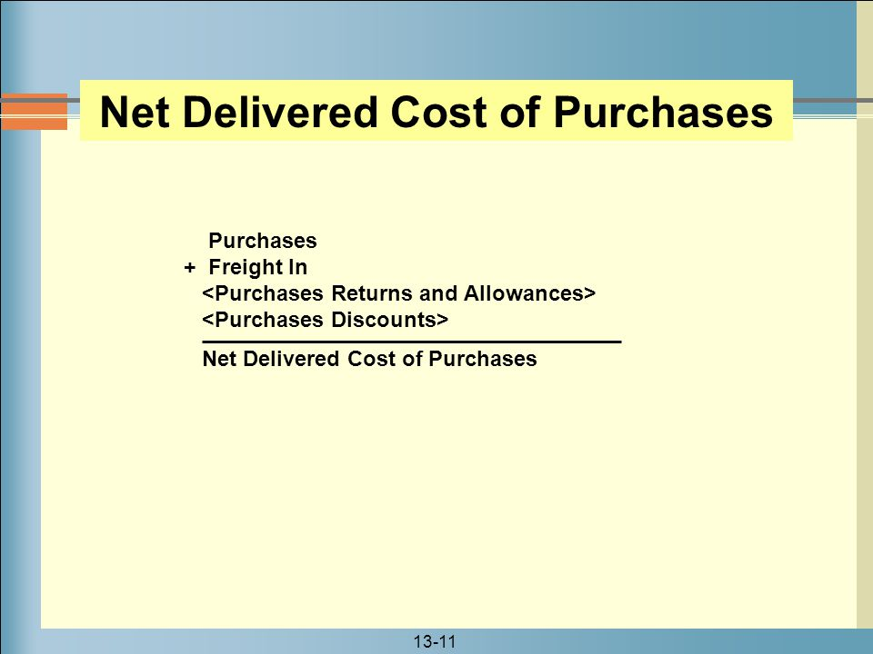 13-11 Purchases + Freight In Net Delivered Cost of Purchases
