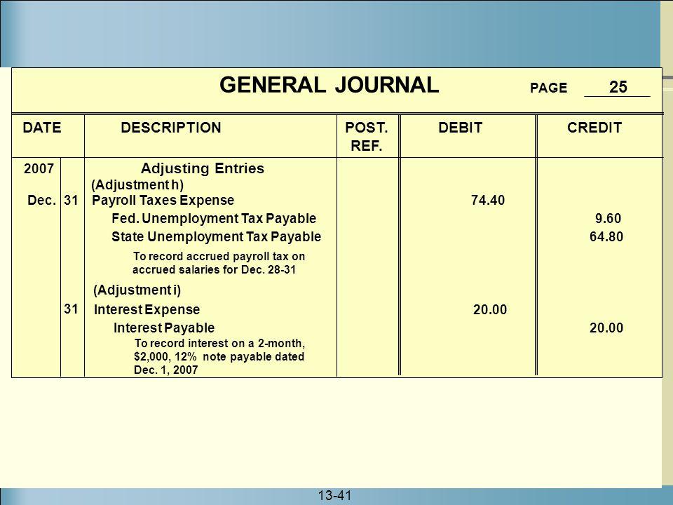 13-41 GENERAL JOURNAL PAGE 25 DATE DESCRIPTION POST. DEBIT CREDIT REF. Adjusting Entries Interest Expense 20.00 Interest Payable 20.00 (Adjustment i)