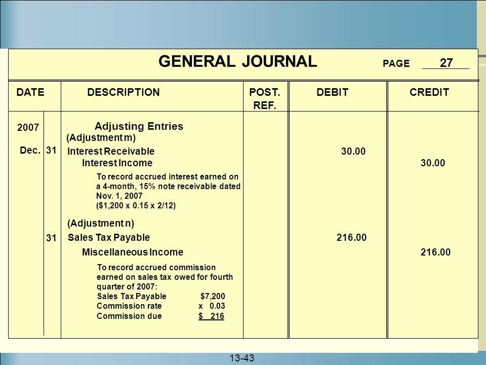 13-43 GENERAL JOURNAL PAGE 27 DATE DESCRIPTION POST. DEBIT CREDIT REF. 2007 Dec. 31 (Adjustment m) Interest Receivable 30.00 Interest Income 30.00 To