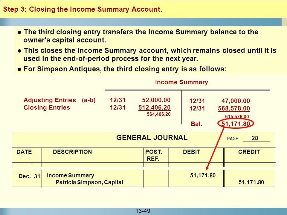 13-49 Income Summary 12/31 47,000.00 12/31568,578.00 615,578.00 Bal. 51,171.80 Adjusting Entries (a-b)12/31 52,000.00 Closing Entries 12/31 512,406.20