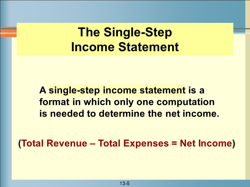 13-6 The format lists all revenues in one section and all expenses in another section.