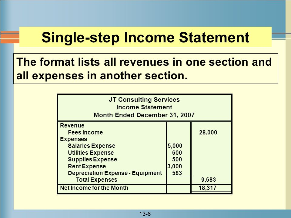 13-7 The first section of the multiple-step income statement contains the revenue from operations.