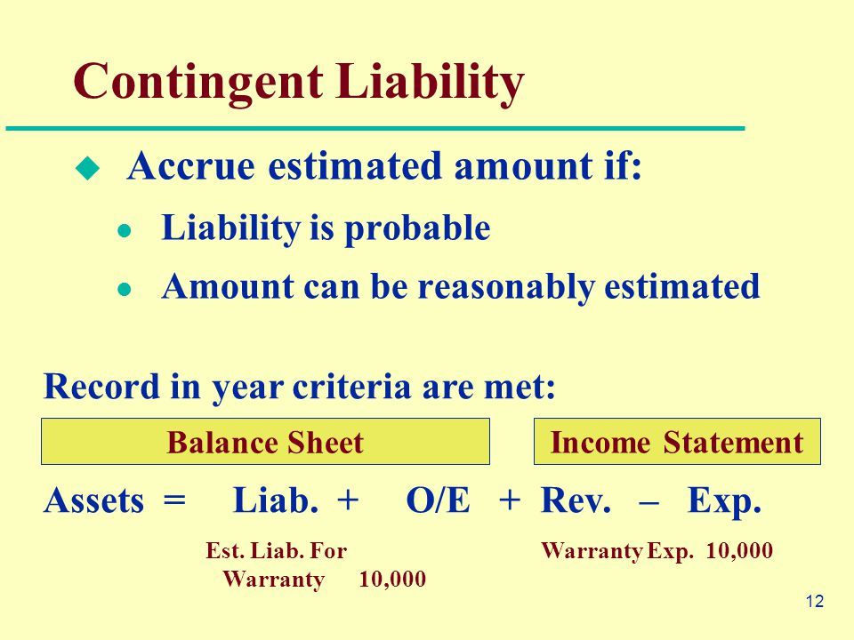 12  Accrue estimated amount if: Liability is probable Amount can be reasonably estimated Contingent Liability Record in year criteria are met: Assets = Liab.