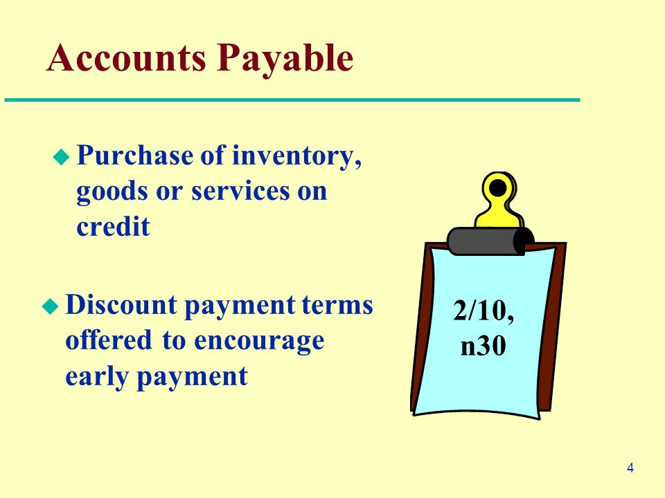 4 Accounts Payable  Purchase of inventory, goods or services on credit 2/10, n30  Discount payment terms offered to encourage early payment