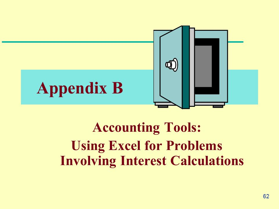 62 Appendix B Accounting Tools: Using Excel for Problems Involving Interest Calculations