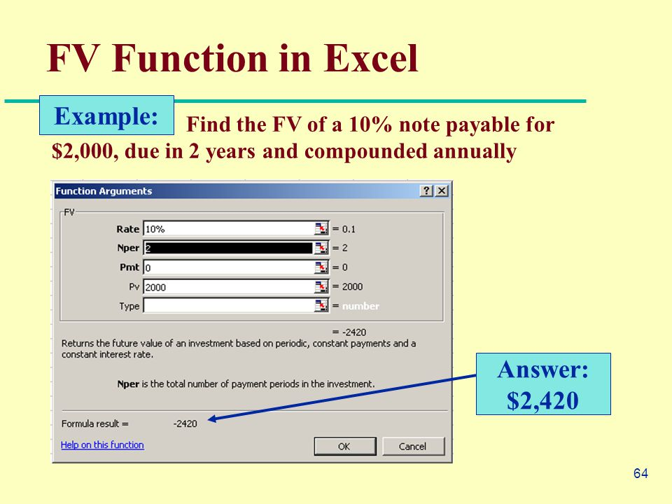 64 FV Function in Excel Find the FV of a 10% note payable for $2,000, due in 2 years and compounded annually Example: Answer: $2,420