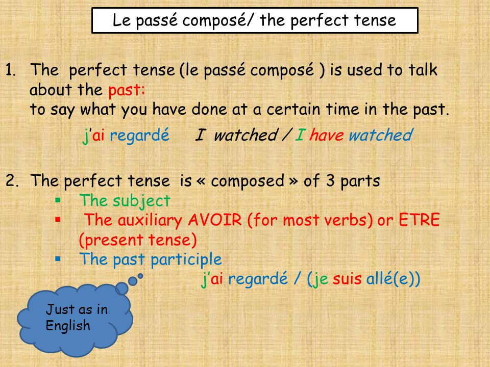 Verbs with AVOIR The perfect tense is « composed » of 3 parts:  The subject  The auxiliary AVOIR (present tense)  The past participle You must then know the auxiliary AVOIR Singular J'ai I have Tu asYou have Il/elle aHe/she hasPlural Nous avonsWe have Vous avezYou have Ils/elles ontThey have
