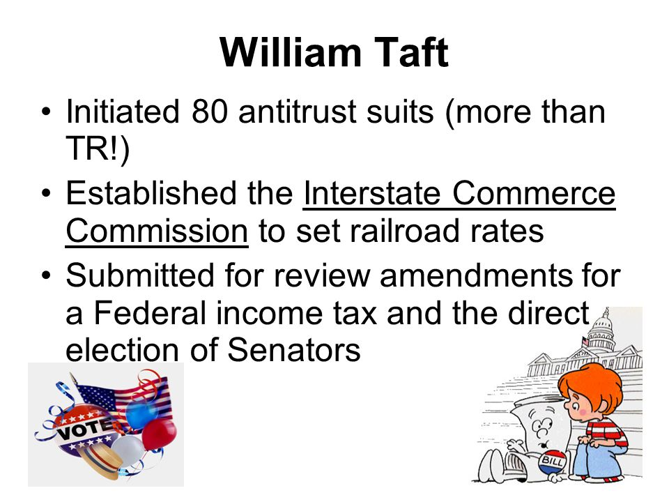 William Taft Initiated 80 antitrust suits (more than TR!) Established the Interstate Commerce Commission to set railroad rates Submitted for review am