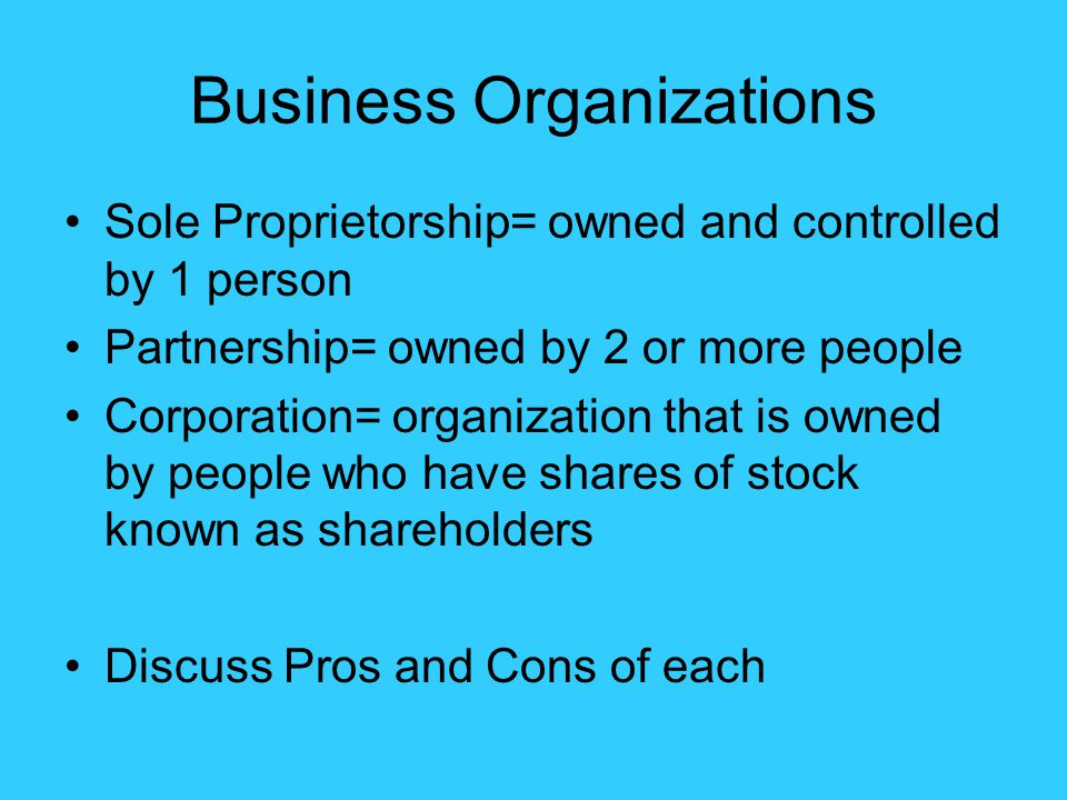 Business Organizations Sole Proprietorship= owned and controlled by 1 person Partnership= owned by 2 or more people Corporation= organization that is