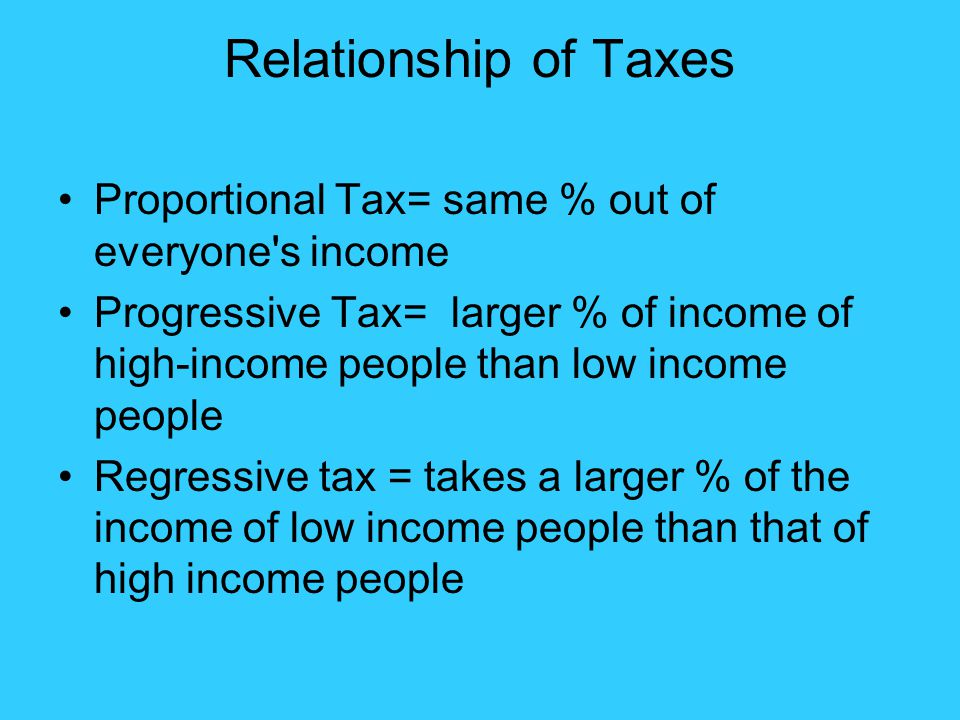 Relationship of Taxes Proportional Tax= same % out of everyone's income Progressive Tax= larger % of income of high-income people than low income peop