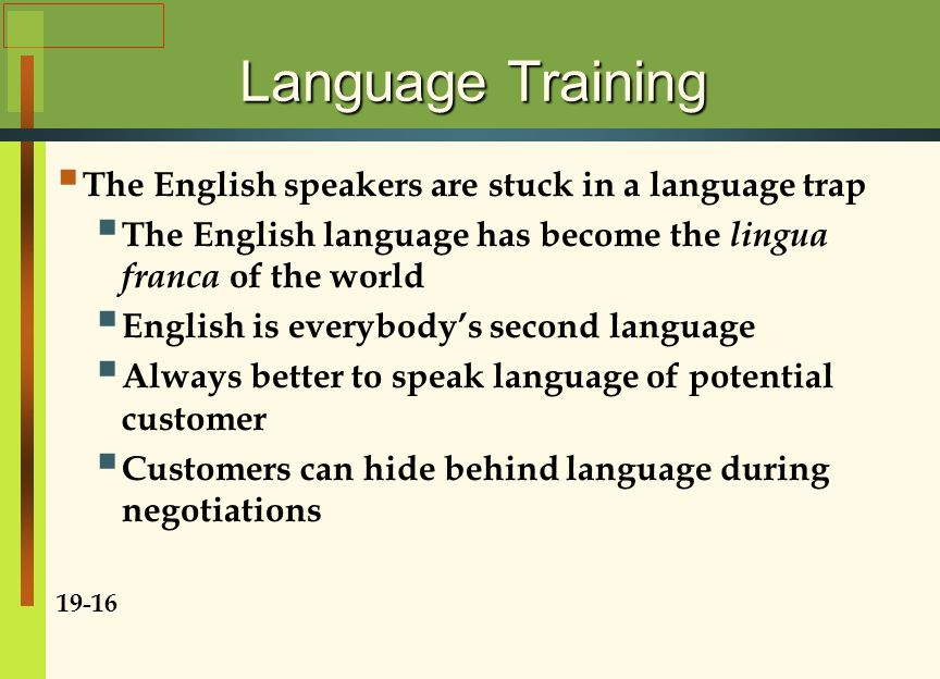 Language Training  The English speakers are stuck in a language trap  The English language has become the lingua franca of the world  English is everybody's second language  Always better to speak language of potential customer  Customers can hide behind language during negotiations 19-16